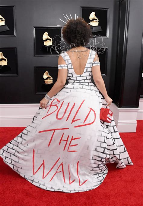 joy villa grammy dress trump wall pro build awards grammys 61st annual singer heads tv attends wears getty staples maga