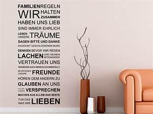 Wandtattoo Sprüche Familie : wandtattoo familie spruchband mit familienregeln ~ Frokenaadalensverden.com Haus und Dekorationen
