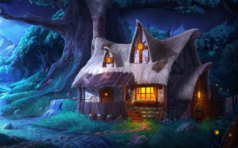 fantasy house   forest hd wallpaper background