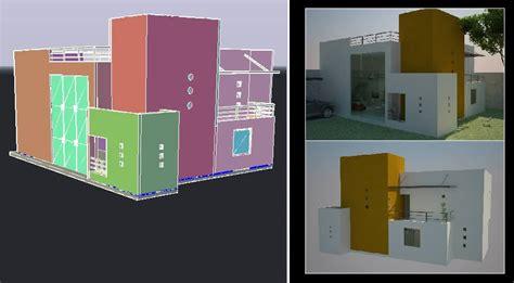 minimalist house includes renders  dwg model
