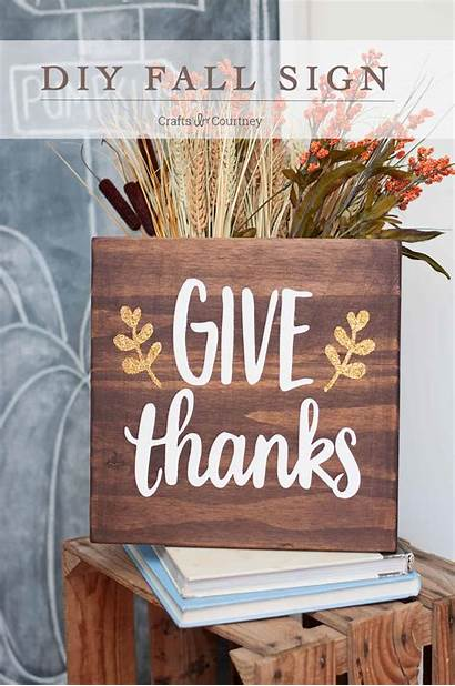 Sign Thanks Give Diy Fall Stained Thanksgiving