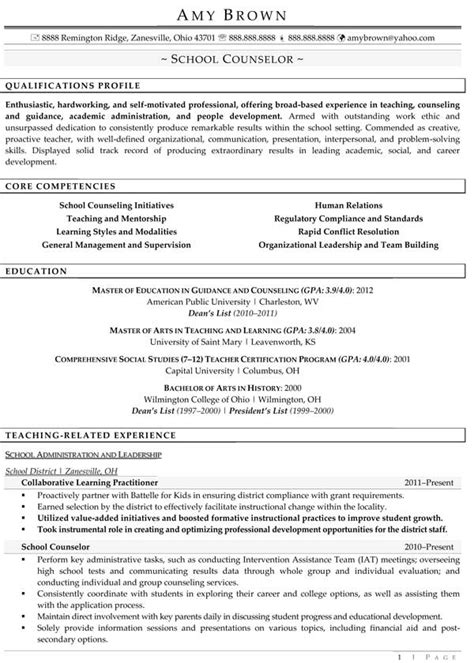 Resume For Professional Counselor by Professional School Counselor Resume School Counselor 1 1 School Counseling
