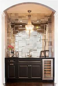 an arched living room alcove is filled with black cabinets With kitchen cabinets lowes with jazz music wall art