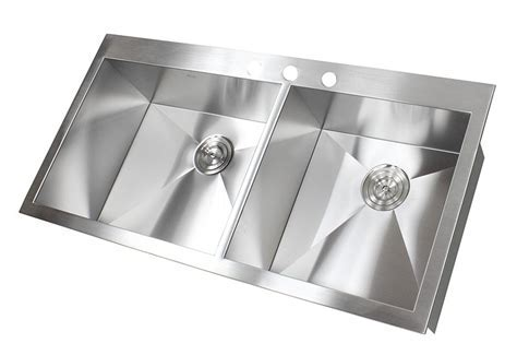 43 Inch Top Mount / Drop In Stainless Steel Double Bowl
