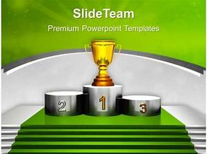 Technology Roadmap Powerpoint Template Golden Trophy On Winner Podium Powerpoint Templates Ppt