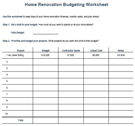 home remodel budget sheet remodel quick tips
