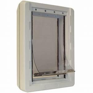 ideal pet 725 in x 13 in medium ruff weather frame door With ruff weather dog door flaps