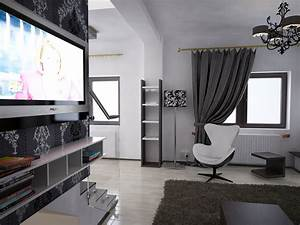 Schwarz Weiß Wohnzimmer : bilder 3d interieur wohnzimmer schwarz wei 39 valea lupului 39 3 ~ Orissabook.com Haus und Dekorationen