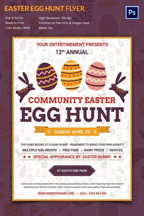 excellent easter egg hunt flyer template  premium