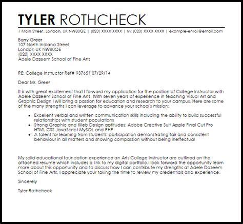 instructor cover letter college instructor cover letter sle cover letter