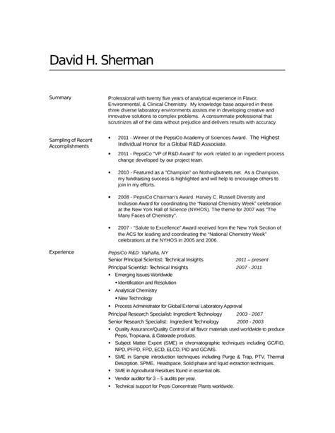 Analytical Chemist Resume Sles by Professional Analytical Chemist Resume Template