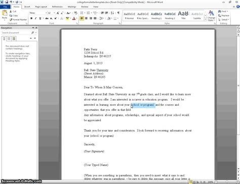 Business Letter Of Intent Example