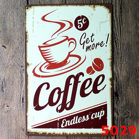 affiche cuisine coffee vintage retro metal tin sign poster plaque bar pub