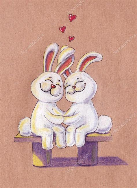 banc postale lapins sur le banc de l amour illustration carte postale