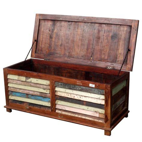 Rustic Reclaimed Wood Multicolor Coffee Table Storage