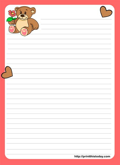 nice teddy bear writing love letter paper stationery