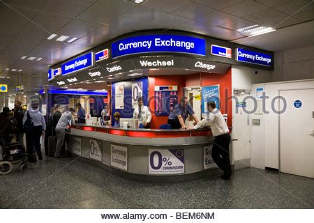 bureau de change birmingham airport currency exchange bureau at gatwick airport stock photo
