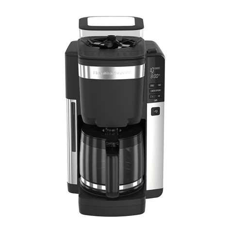 Read before use lire avant utilisation lea antes de usar. Hamilton Beach 12-Cup Coffee Maker with Automatic Grounds Dispenser, Black & Stainless - 45400