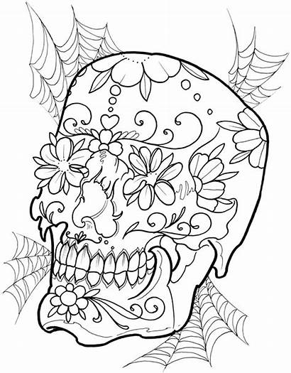 Tattoo Skull Floral Coloring Designs Pages Adult