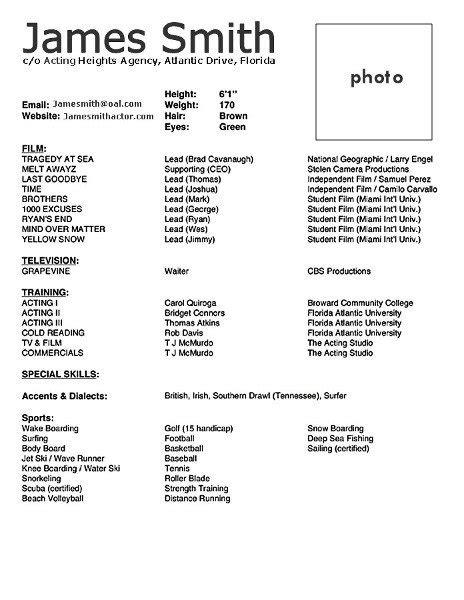 acting cv template acting cv 101 beginner acting resume exle template