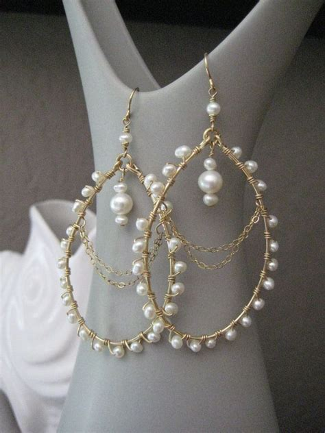 wedding pearl earrings pearl chandelier earrings