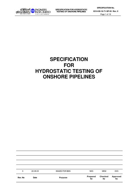 Specification of Hydro Testing for Onshore | Pipeline