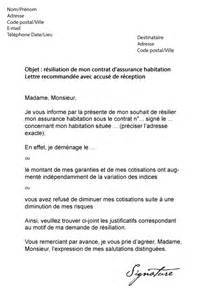 Lettre De Résiliation Assurance Vie by Lettre De R 233 Siliation Assurance Habitation Gmf Mod 232 Le