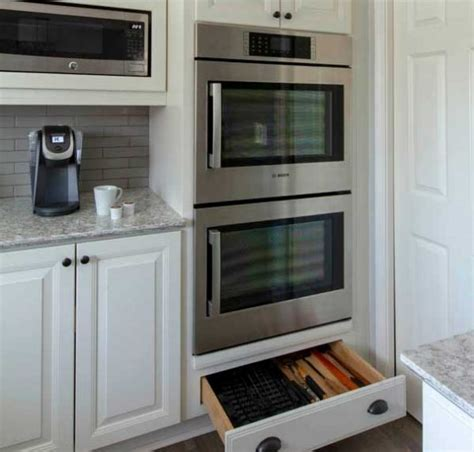 wall oven cabinet built  double oven  microwave cliqstudios