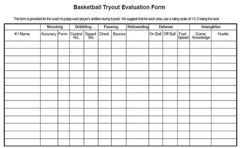 baseball tryout evaluation sheet amulette