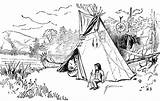 Coloring Indian Pages Pee Tee Cherokee Tipis Sketch Template sketch template
