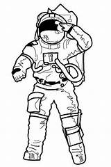 Astronaut Coloring Salute Drawing Going Pages Making Mission Before Apollo Line Suit Printable Clipart Cliparts Space Astronauts Rocket Clip sketch template