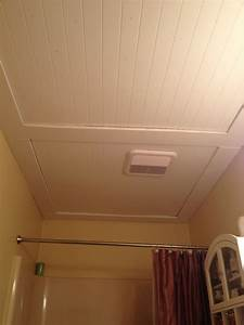 our beadboard bathroom ceiling things i39ve made With popcorn ceiling peeling in bathroom
