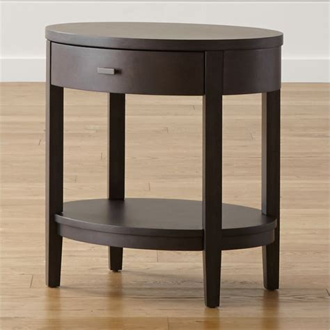 Oval Nightstand by Arch Grey Brown Oval Nightstand Reviews Crate And Barrel