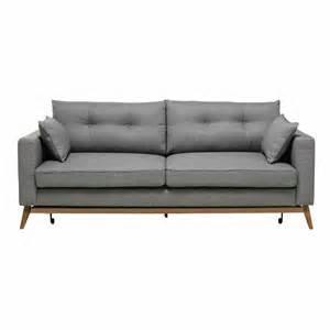 sofa maison du monde canapé convertible 3 places en tissu gris clair maisons du monde