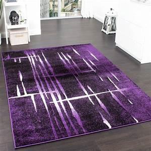 Teppich Lila Weiß : designer teppich modern trendiger kurzflor teppich in lila schwarz creme meliert wohn und ~ Indierocktalk.com Haus und Dekorationen