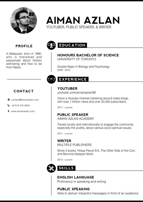Resume Styles by Aiman Azlan On Quot Experimenting With A New Style Of