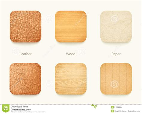 set  paper wood  leather app icons royalty  stock