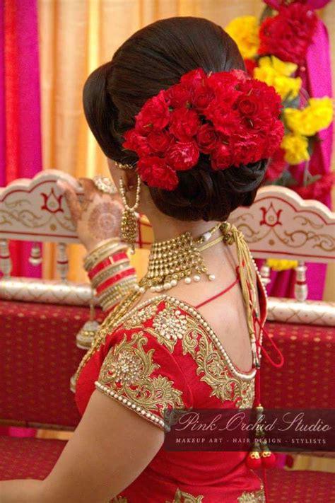 pink orchid studio bridal hair buns indian bride