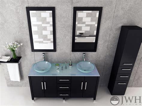 jwh living  sirius double vessel sink vanity glass top