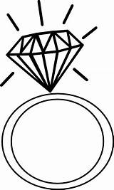 Rings Clip Ring Cliparts Coloring Diamond Clipart Engagement Attribution Forget Link Don sketch template