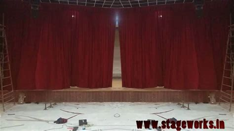 retardant school stage curtain with mechanisms for