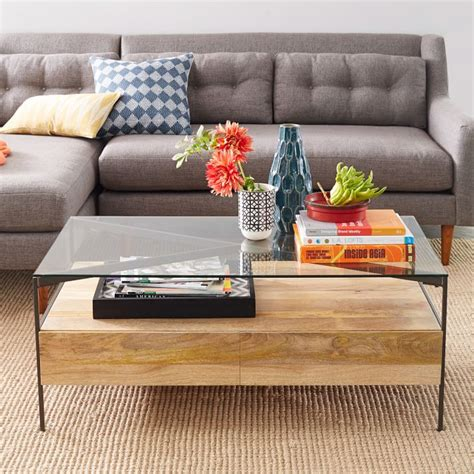 The beams are solid wood and are approximately 9x11x19. Glass-Topped Industrial Storage Coffee Table | west elm