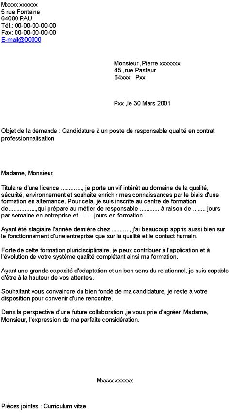 contrat de professionnalisation cuisine candidature à un poste de responsable qualité en contrat