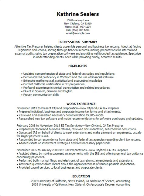 Tax Accountant Resume Summary by Professional Tax Preparer Templates To Showcase Your Talent Myperfectresume