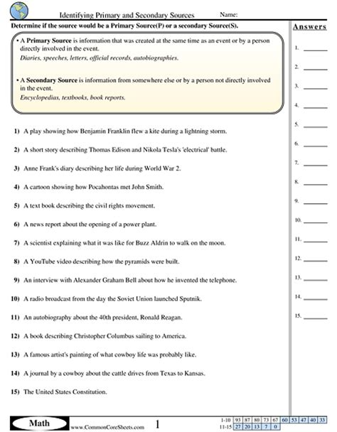 worksheets secondary www commoncoresheets answers new features create a