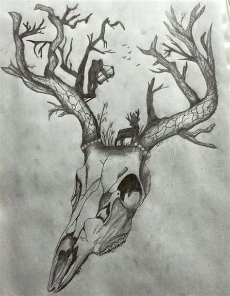 Would Awesome Tattoo Deer Skull Tree Antlers Bow
