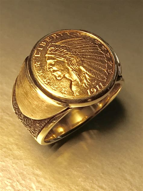 Buy A Hand Made Custom Made Mens Gold Coin Ring Made To