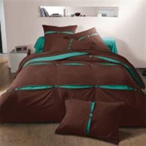 housse de couette chocolat turquoise housse de couette en pur coton bicolore chocolat turquoise olympe acheter ce produit au