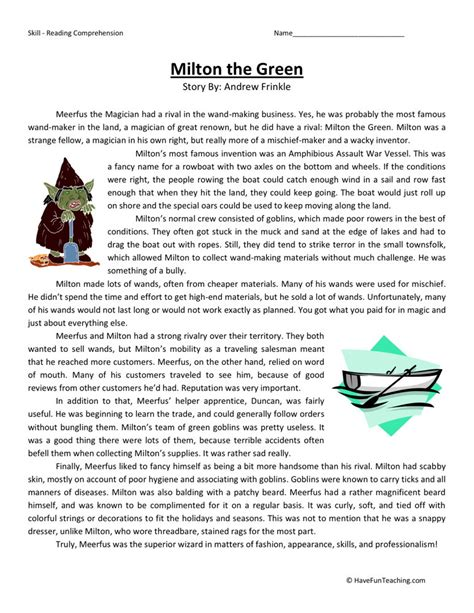 reading comprehension worksheet milton the green