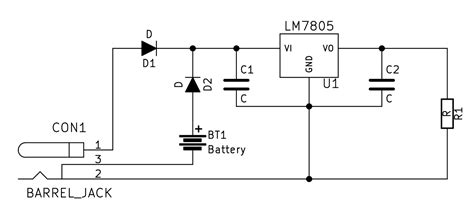 power supply dc barrel battery schematic electrical